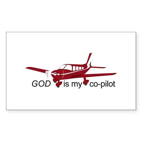 God is my co-pilot Fixed Rectangle Sticker