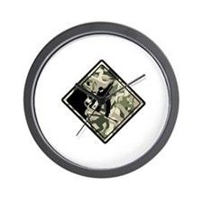 Yield Camo Boarder Wall Clock