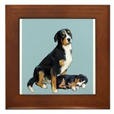 Swissie Mom and Pup in Blue Framed Tile