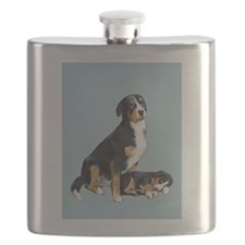 Swissie Mom and Pup in Blue Flask