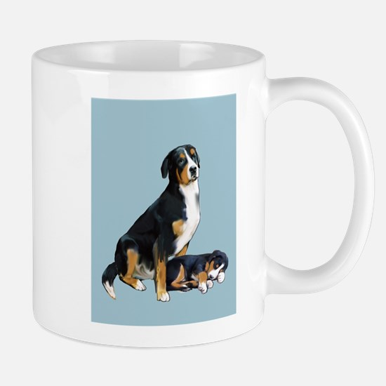 Swissie Mom and Pup in Blue Mug