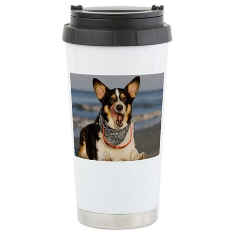 Cute Corgi Licking his Chops Stainless Steel Trave