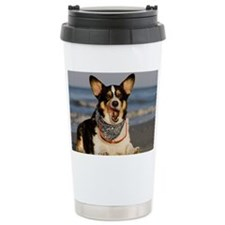 Cute Corgi Licking his Chops Travel Mug