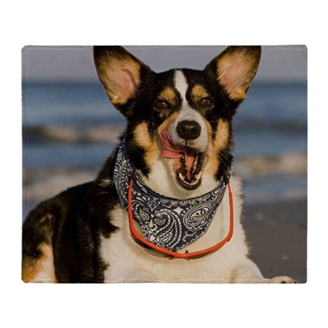 Cute Corgi Licking his Chops Throw Blanket