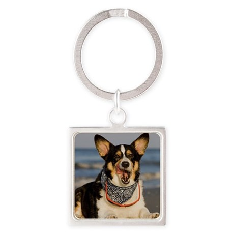Cute Corgi Licking his Chops Square Keychain