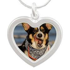 Cute Corgi Licking his Chops Silver Heart Necklace