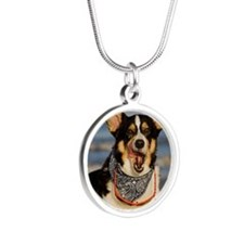 Cute Corgi Licking his Chops Silver Round Necklace
