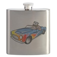 Dog Driving Sports Car Flask