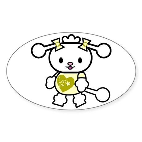I Love You Poodle Yellow Oval Sticker