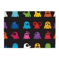 Retro Monsters 5'x7'Area Rug