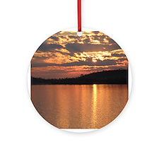 Cavity Lake Sunset Ornament (Round)