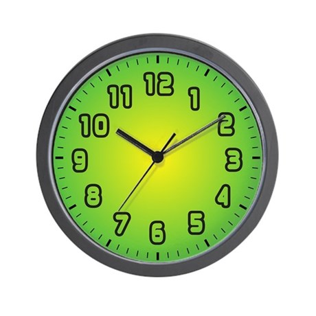 Green Burst Large Numbers Wall Clock By Clockplanet
