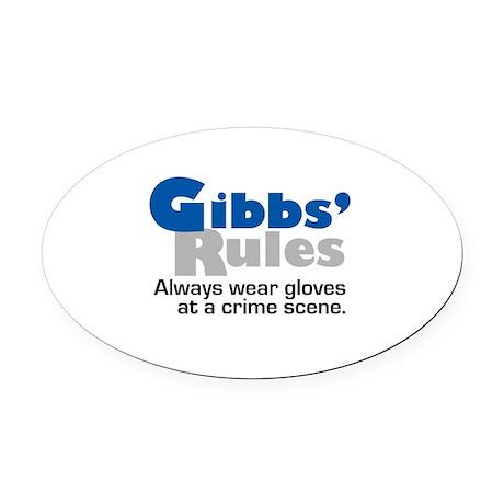 Gibbs Rules Wear Gloves Oval Car Magnet
