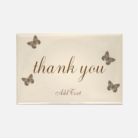 Pretty Thank You Cream Gold Butterflies Magnets
