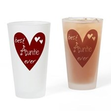Red Heart Best Auntie Ever Drinking Glass