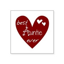 "Red Heart Best Auntie Ever Square Sticker 3"" x 3"""