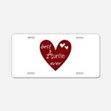 Red Heart Best Auntie Ever Aluminum License Plate
