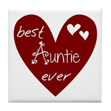 Red Heart Best Auntie Ever Tile Coaster