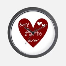 Red Heart Best Auntie Ever Wall Clock