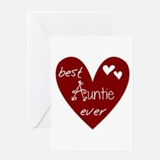Red Heart Best Auntie Ever Greeting Card
