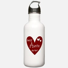 Red Heart Best Auntie Ever Sports Water Bottle