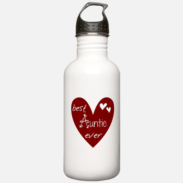 Red Heart Best Auntie Ever Water Bottle
