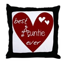 Red Heart Best Auntie Ever Throw Pillow