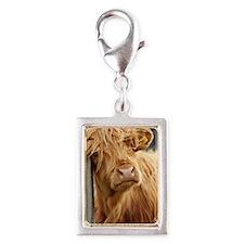 Highland Cow Silver Portrait Charm