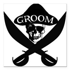 "Pirate Groom Square Car Magnet 3"" x 3"""