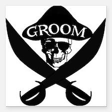 "Pirate Groom Square Car Magnet 3"" x 3"""