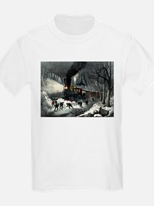 American railroad scene - snowbound - 1871 T-Shirt