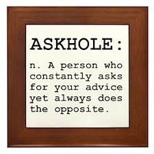 Askhole Definition Framed Tile
