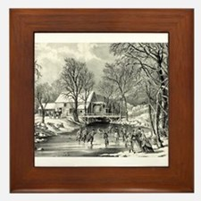 Winter pastime - 1870 Framed Tile