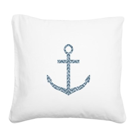 Nautical Faux Glitter Blue Chevron Anchor Square C