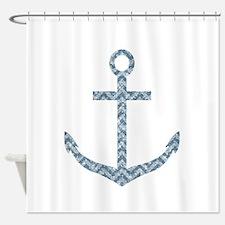 Nautical Faux Glitter Blue Chevron Anchor Shower C