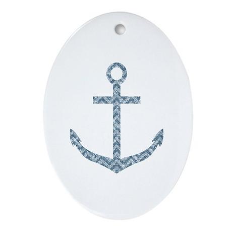 Nautical Faux Glitter Blue Chevron Anchor Ornament