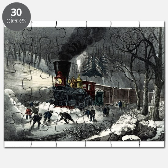 American railroad scene - snowbound - 1871 Puzzle