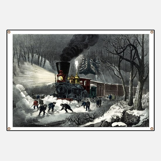American railroad scene - snowbound - 1871 Banner