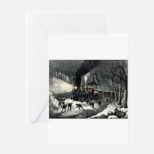 American railroad scene - snowbound - 1871 Greetin