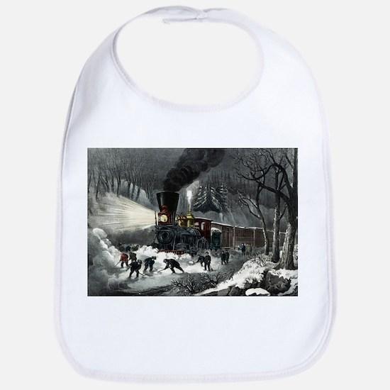 American railroad scene - snowbound - 1871 Cotton