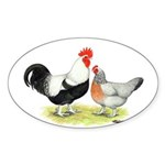 Dorking Chickens Oval Sticker