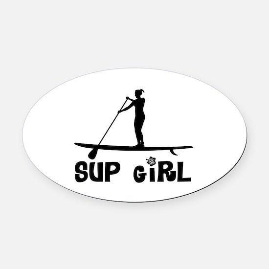 SUP_Girl-b Oval Car Magnet