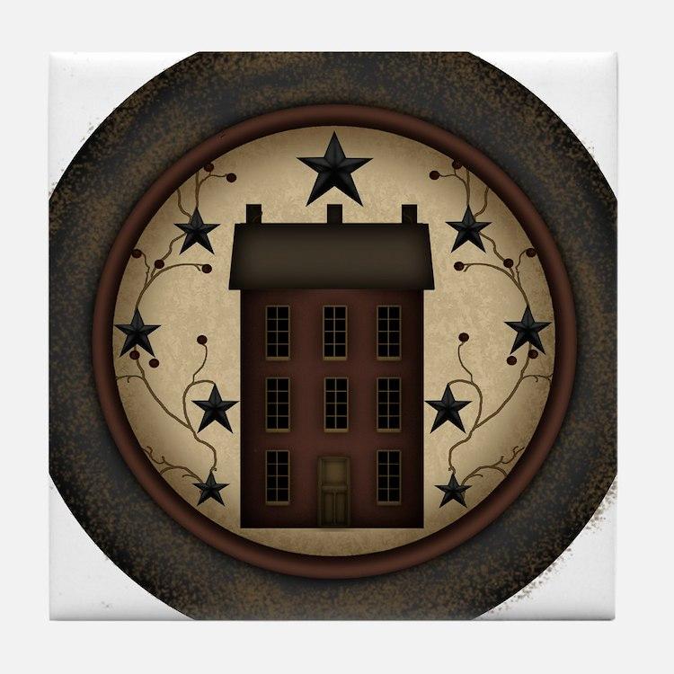 Primitive Saltbox and Stars Tile Coaster