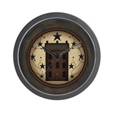 Primitive Saltbox and Stars Wall Clock