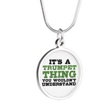 It's a Trumpet Thing Silver Round Necklace