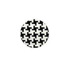 Retro Houndstooth Vintage Black Mini Button