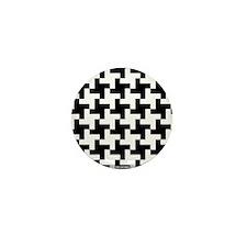 Reto Houndstooth Vintage Black Mini Button