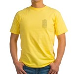 Compact Chinese Heart Sutra Yellow T-Shirt