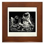 Etched Pigeon Trio Framed Tile