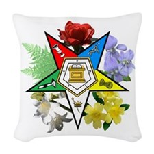 Eastern Star Floral Emblem Woven Throw Pillow